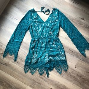 NWT lace bell sleeve romper